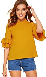Milumia Women's Elegant Flounce Sleeve Ruffle Trim Stand Collar Keyhole Back Blouse Top