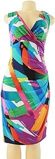 Women's Summer Abstract Print V-Neck Folded Sleeveless Matte Jersey Dress