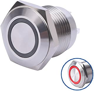 WerFamily 16mm Red LED Ring Momentary Push Button Switch 1NO SPST Round Stainless Steel Metal Shell with Resistor 12V