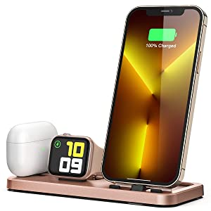 LERCIOR Portable 3 in 1 Charging Station for Apple Devices Foldable Charger Station for Apple Watch 6/SE/5/4/3/2/1 Charger Stand, Charging Dock Station for iPhone AirPods Pro 2/1 Rose Gold
