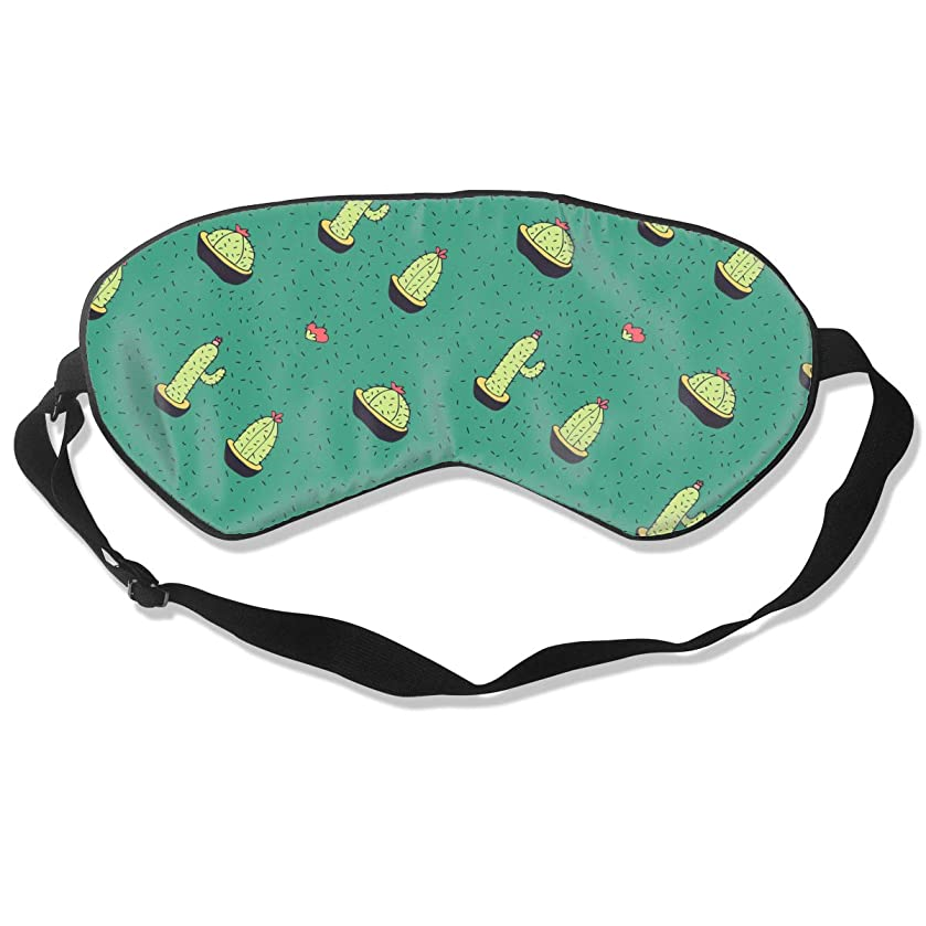 Sleeping Masks For Men Woman, Blindfold Eyeshade Eye Mask, Cactus Flower Green With Adjustable Head Strap Lightweight & Comfortable For Travel Create Total Darkness