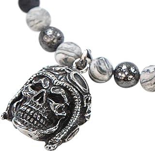 Skull Rider Jaspe gris - SKULLS AND SPIRITS - Collar con calavera de acero inoxidable y semipreciosas en colores diferente...