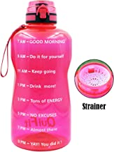 BuildLife Gallon Water Bottle with Time Marker & Strainer/Tracker Helps You Drink More Daily/BPA Free/Leakproof Lid for Running, Gym, Outdoors