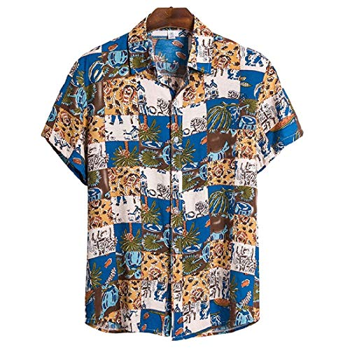 Camisas de Manga Corta para Hombre Camisas de Solapa con Botones Sueltas y cómodas de Estilo Hawaiano con Estampado Personalizado XX-Large