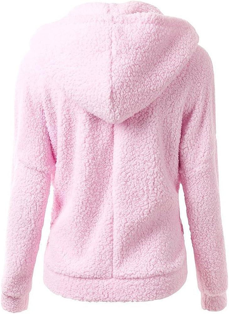 LeeY Herbst Winter Frauen Mode Plus Samte Warme Jacke Mantel Damen Mädchen Einfarbig Beiläufige Sport Reißverschluss Sweatshirt Hoodie Outwear Overmantel Rosa B