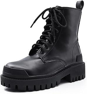 ZXCN Chaussures Automne/Hiver Nouvelle Cheville Bottines Chaussures Femme Porter des Bottes de Mode à Semelles épaisses Vi...