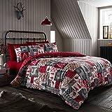 Happy Linen Company Wendbares Bettwäsche-Set mit weihnachtlichem Patchwork-Design - Einzelbett - Rot