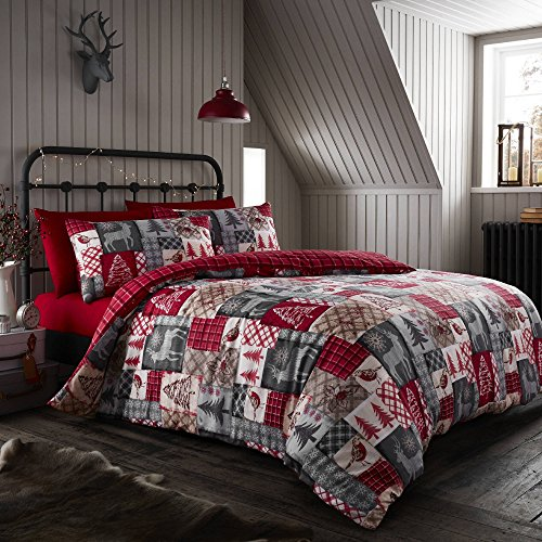 Happy Linen Co Christmas Patchwork Red Super King Duvet Cover Bedding Set