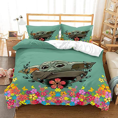 Wusan Twin Size Bedding for Girls Baby Yoda Duvet Cover Mandalorian The Child Gifts Home Bedding Decor Microfiber 1 Duvet Cover + 1 Pillow Sham