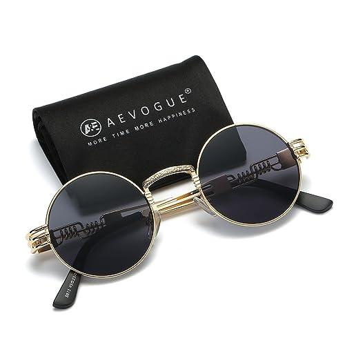 fd6d75984d6 AEVOGUE Sunglasses Steampunk Style Round Metal Frame Unisex Glasses AE0539