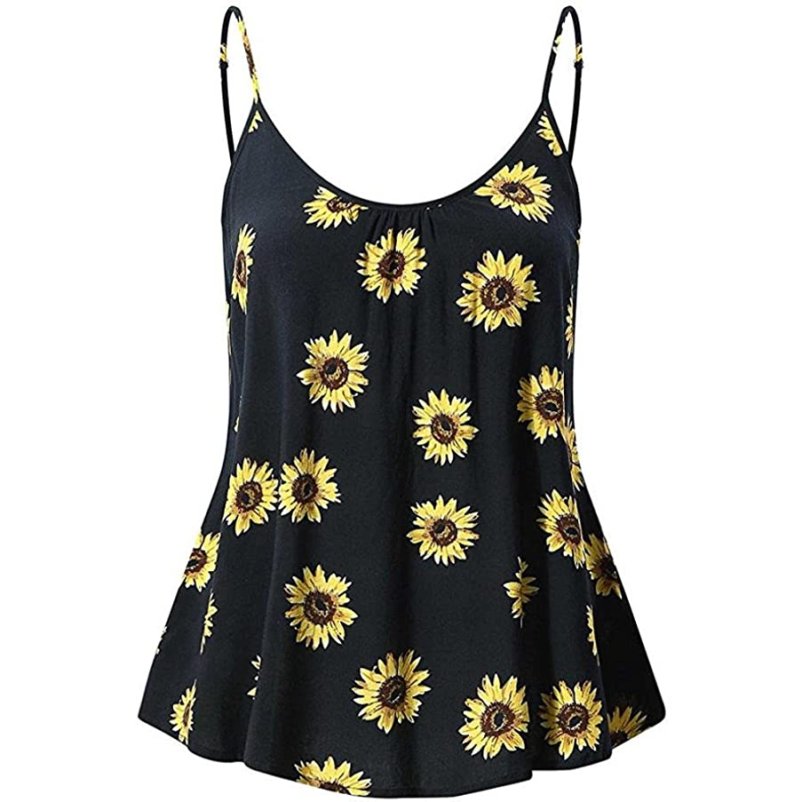 FEITONG Women's Sleeveless Summer Flowy Print Floral Spaghetti Strappy Tank Tops