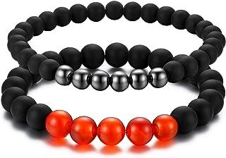 Cupimatch 2 Pcs Black Matte Agate Beads Prayer Charm Bracelet for Men Women,Black Red