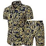 YSYOkow Chándal para hombre de verano 2 piezas Casual Activewear manga corta camisa y pantalones cortos