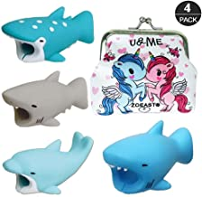 ZOEAST(TM) 4 Pack Animal World Bite | Whale Shark Dolphin | Charging Cord Protector USB Charger Saver Data Earphone Line Protector Compatible with All iPhone iPad iPod Android (4pcs 3#)