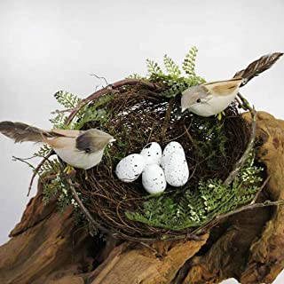 Artificial Bird Nest with Eggs Birds Faux Natural Rattan Twig Bird Nest House Ornament Photo Props for Home Garden Decoration