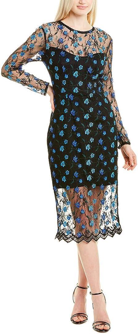 Dress the Population Women's Sophia Longsleeve Lace Illusion Midi Sheath Dress, Black/Blue/Green, X-Large