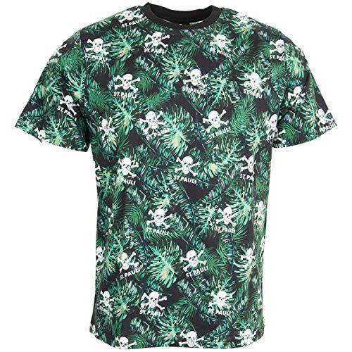 FC St. Pauli - Camiseta de manga corta, diseño de calavera, color verde
