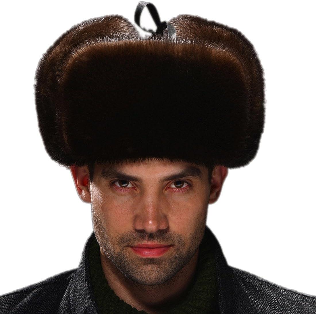 URSFUR Men's Otter Fur & Leather Russian Ushanka Hats