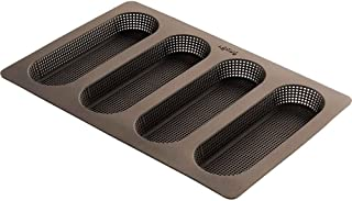 Lekue 4 Cavity Micro Perforated Mini Baguette Baking Pan, Brown