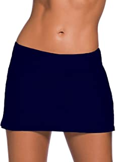 EVALESS Women's Solid Color Waistband Skirted Bikini Bottom Swimdress[S-XXXXL]