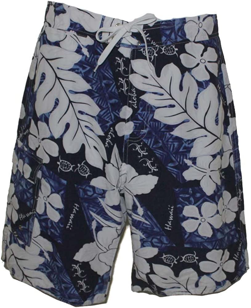 Men Board Shorts, Blue Turtle, 30
