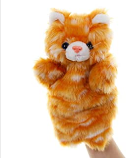 Cat Hand Puppets Kitty Plush Animal Toys for Imaginative Pretend Play Stocking Storytelling Orange