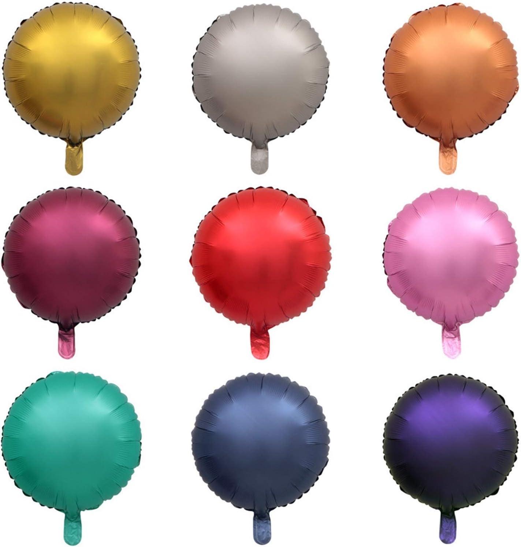 Xunsdzsw Ballonnen 50 stks Folie ballon Hart Ster Ronde Matte matte helium ballons Verjaardag Bruiloft feest decor (Kleur: Ronde mix) Purple Round
