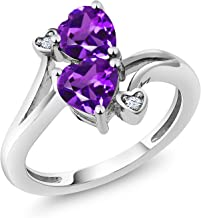 Gem Stone King Purple Amethyst Gemstone Birthstone 925 Sterling Silver Ring (1.33 Ct Heart Shape Available 5,6,7,8,9)