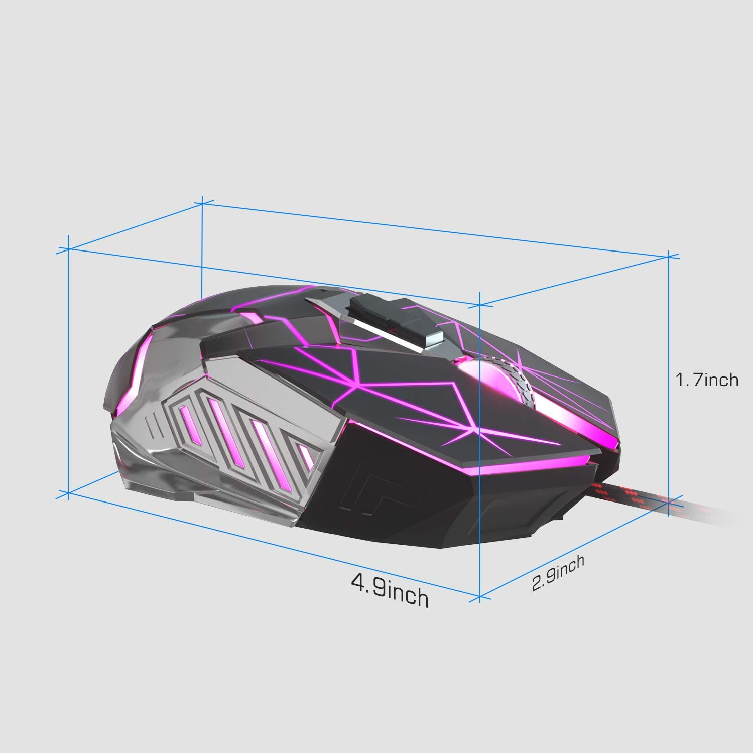 MageGee G10 Gaming Mouse Wired, 7 Colors Breathing LED Backlit Gaming Mouse, 6 Adjustable DPI (up to 3200 DPI), Ergonomic Optical Computer Mouse with 7 Buttons for Windows PC Gamers