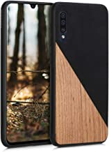 kwmobile Case Compatible with Samsung Galaxy A50 - Hard Cover with TPU Bumper and PU Leather/Wood Design - Two-Tone Wood Black/Brown