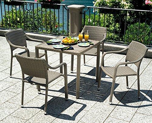 PEGANE Ensemble de Table Jardin + 4 chaises empilable