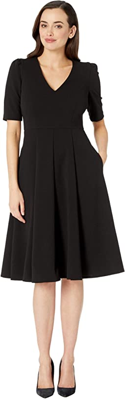 V-Neck Fit and Flare Crepe Dress