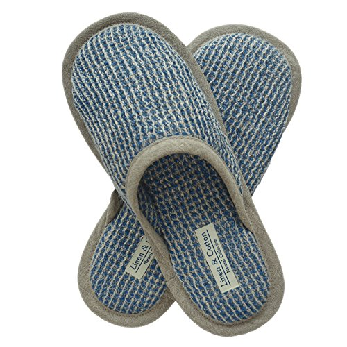 Linen & Cotton Herren Damen Erwachsene Gäste Weich, Leicht, Waffelpikee Hausschuhe/Pantoffeln/Gästehausschuhe/Slippers TIGO, 100% Leinen (Eur 41-42, Blau)