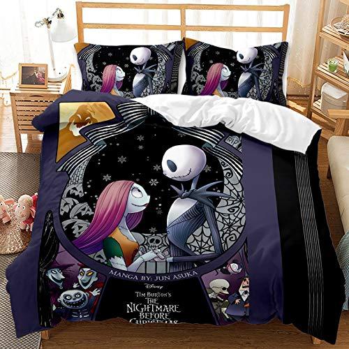 Juego de ropa de cama con diseño de Pesadilla antes de Navidad, juego de ropa de cama con estampado en 3D, juego de ropa de cama, funda de edredón, para invierno, otoño y verano (135 x 200 cm)