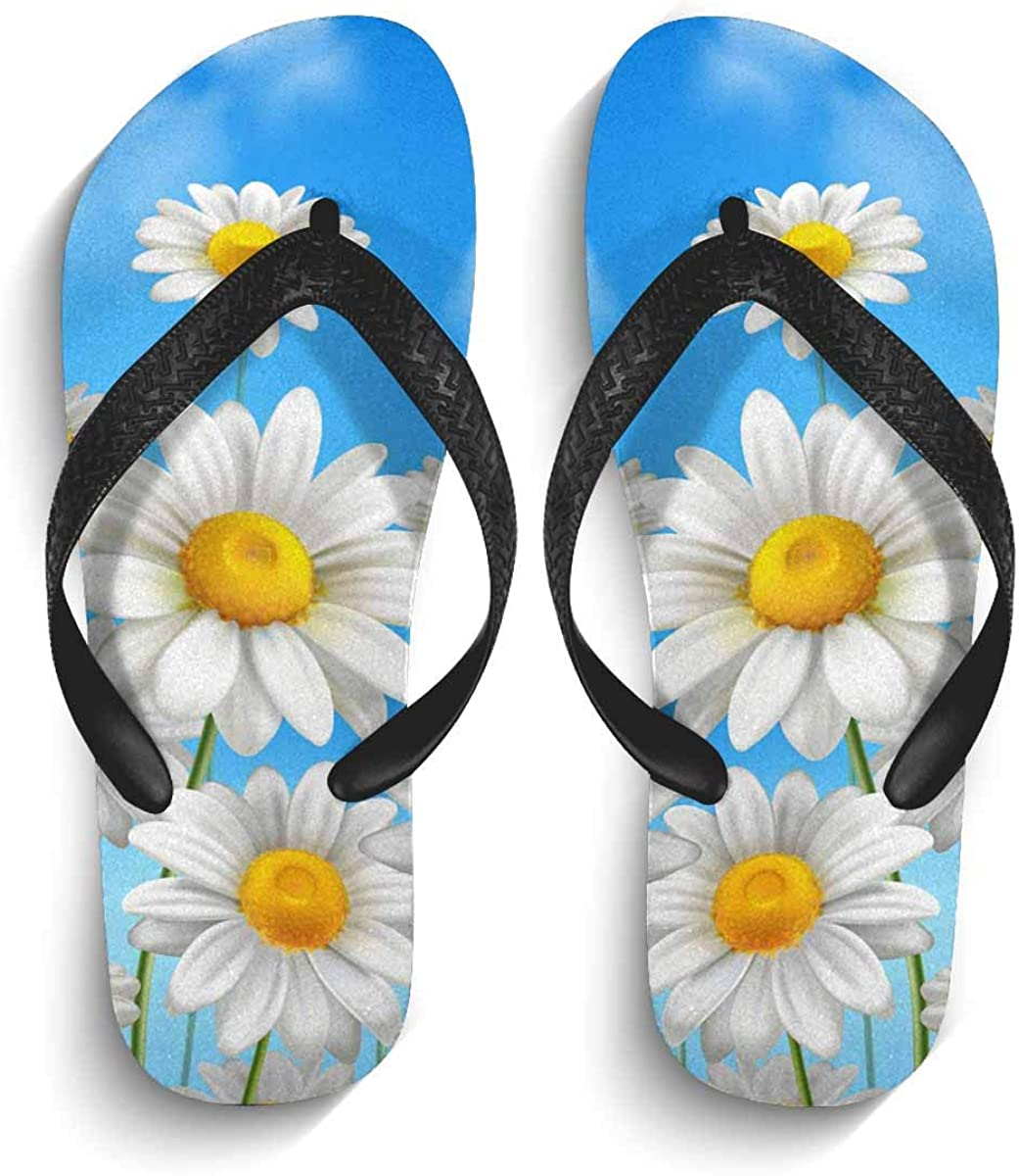 InterestPrint Men's Non-Slip Flip Flop Slippers Valentine Day with Red Stripes and White Hearts Beach Thong Sandal