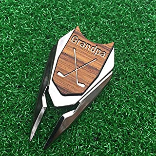 GRANDPA Engraved Golf Gift Divot Tool and Ball Marker in Teak Wood - Dad Personalized Gift, Dad Birthday Gift, Gift for Dad, Gift for Grandfather, Grandfather Christmas Gift, Gift for Granddad