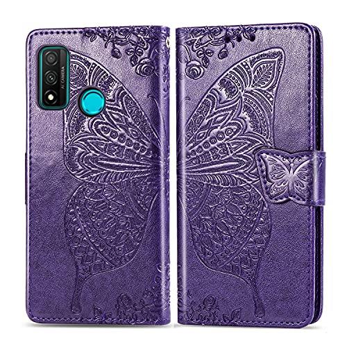 Teléfono Flip Funda Cartera for Huawei P SMART 2020 - NOVA LITE3 PLUS, APROXIDO A prueba de golpes Caja del teléfono de la cartera / correa de la muñeca / funda Floral Butterfly Pattern Wallet Funda T