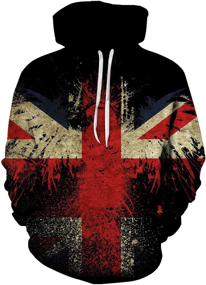 MNmkjgfgj 3DPullover 3D Flag Western Style Pullover Breathable Outwear All-Match Men (Color : A04, Size : X-Large)
