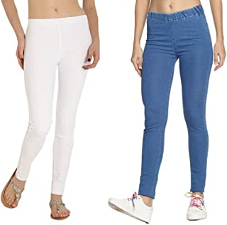 Adbucks Silky Cotton Lycra Stretchable Womens Jeggings (Pack of 2)