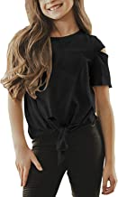 Girls Fashion Tops Back to School Shirts Short Sleeve Tie Front Casual Tee for Teen Girls Age 4-13 Years