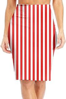 Red White Vertical Stripe Women's Casual Print Slim High Waist Pencil Skirts Knee-Length Skirt