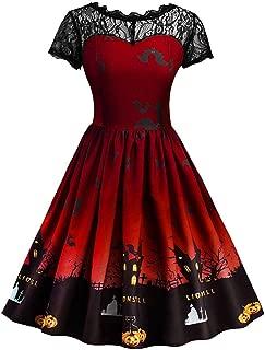 Halloween Costume Women Pumpkin Skater Dress A-line Lace Castle Bat Swing Dresses