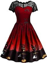 iLOOSKR Halloween Dress Plus Size Women Short Sleeve Halloween Retro Lace Vintage Dress A Line Pumpkin Swing Dress