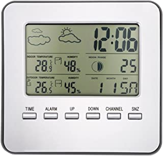 Jiad Kde Multi-Functional Wireless Weather Station Clock LCD Digital Indoor Outdoor Thermometer Digital LCD Hygrometer