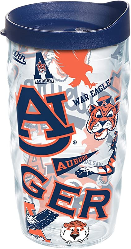 Tervis 1251842 Auburn Tigers All Over Insulated Tumbler With Wrap And Navy Lid 10oz Wavy Clear