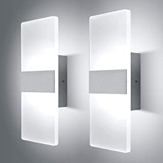 Lightess Up Down Wall Light 12W Modern Wall Sconce Acrylic LED Wall Lamp for Hallway Bedroom Corridor, Cool White, HS521-3, 2 Pack