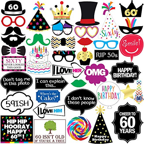 Sterling James Co. 60th Birthday Photo Booth Party Props - 40 Pieces - Funny 60th Birthday Party Supplies, Decorations Favors