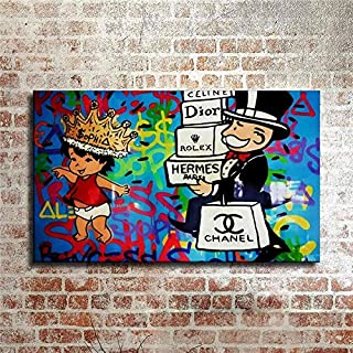 ARTZHU-Alec Monopoly Shopping Graffiti Hand Painted Oil Painting on Canvas Paintings for Living Room Modern Abstract Wall Art #125 (with framed)