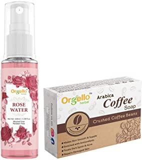 Orgello Herbal Rose Water Spray Mist Toner Gulab jal (100 ml ) + Arabica Coffee Body Soap ( 100 gm. ) - Pack Of 2 - for me...