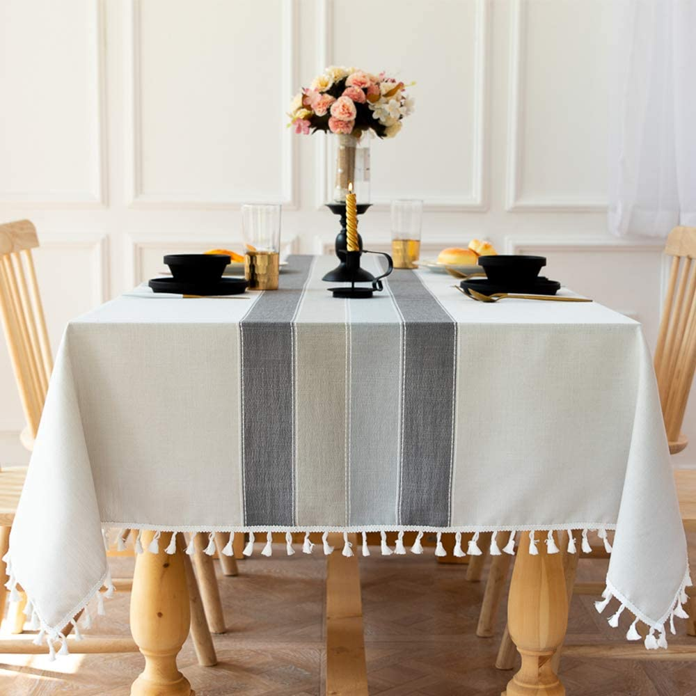 Carvapet Manteles Rectangular Manteles Algodón Lino Mantel Bordado Borla Manteles para Cocina Comedor Mesa Buffet Mantel de la Tabla (Rayas Grises Borla, 140x140CM)